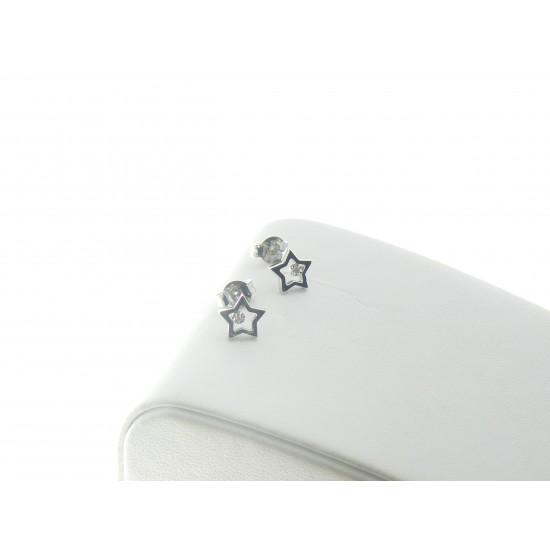 Orecchini con stella in oro bianco 18kt e diamanti ref.PDO4234F